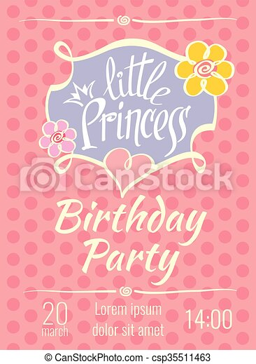 Little princess birthday party vector poster or invitation card little princess birthday party vector poster or invitation card template stopboris Images