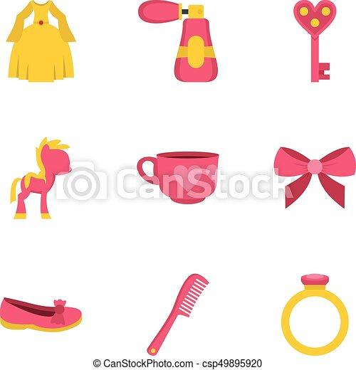 Little princess icon set, flat style - csp49895920