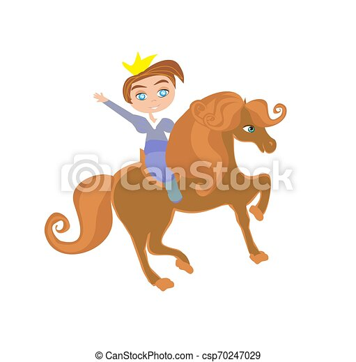 Little princess on horse, funny isolated illustration - csp70247029