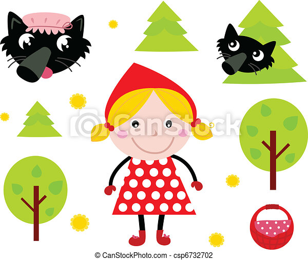 little red riding hood black wolf icon collection red vector rh canstockphoto com Little Red Riding Hood Coloring little red riding hood clipart free