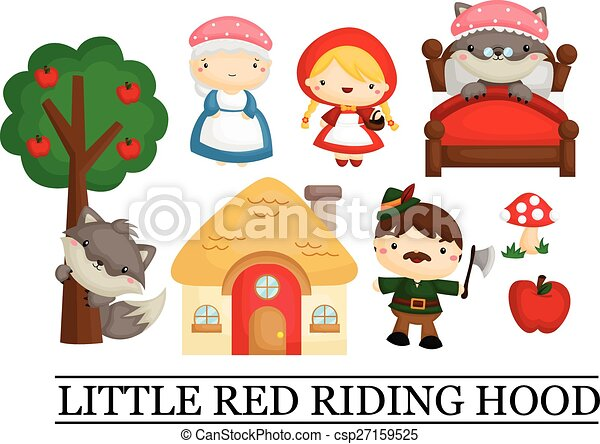 little red riding hood vector illustration search clipart rh canstockphoto com little red riding hood clipart black and white Little Red Riding Hood Clip Art Black and White
