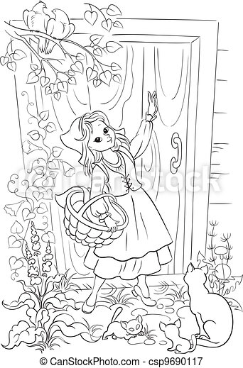 red riding hood outline