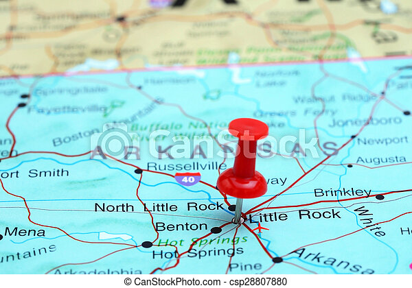 Little Rock pinned on a map of USA