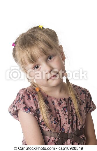 little serious girl on white background - csp10928549