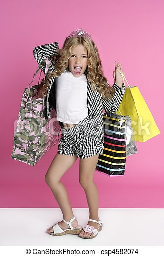 Little shopper humor shopaholic girl - csp4582074