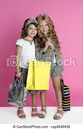 Little shopper humor shopaholic girls - csp4549436