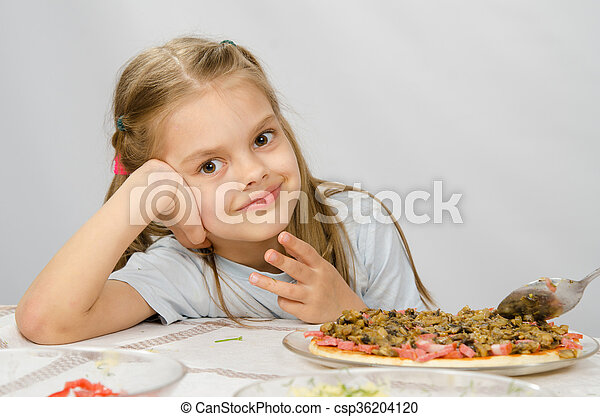 Little six year old girl sitting at the table waiting for about preparing pizza - csp36204120