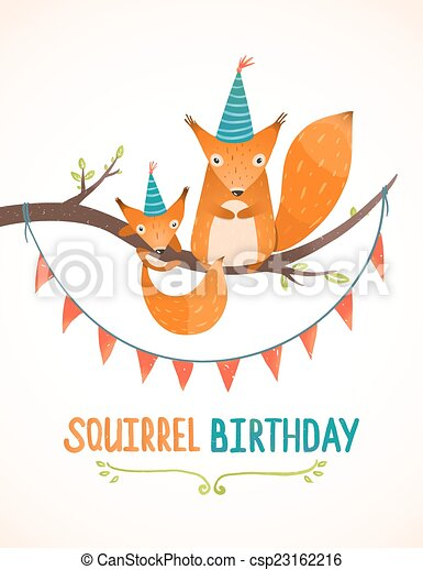 Little Squirrel And Mother Birthday Greeting Card Cartoon