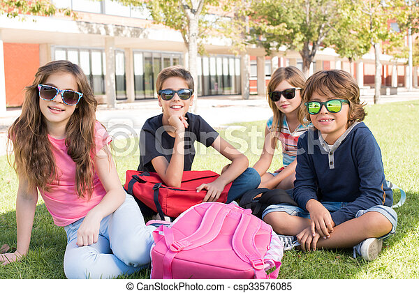 Little students at School Campus - csp33576085