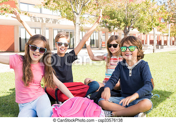 Little students at School Campus - csp33576138
