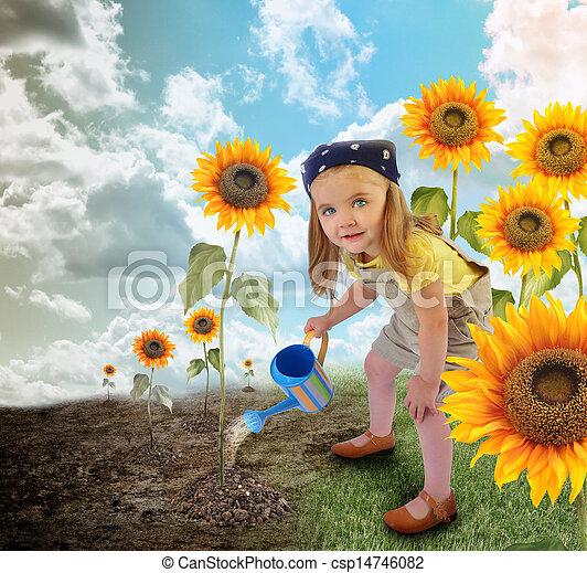 Little Sunflower Gardener Girl in Nature - csp14746082