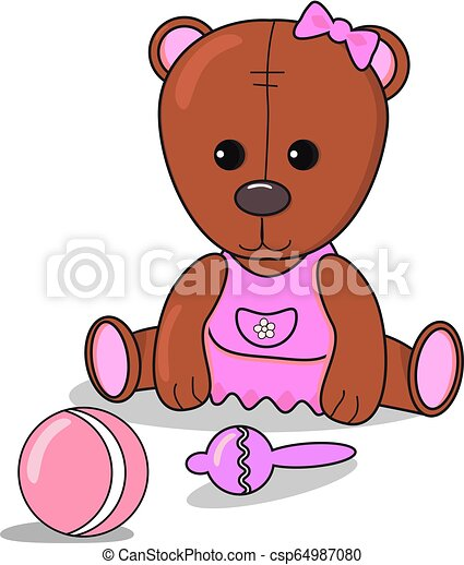 Peachy Little Teddy Bear With Beanbag Ball Baby Announcement Metric For Girl Card Brown And Pink Color Nursery Decor Dailytribune Chair Design For Home Dailytribuneorg