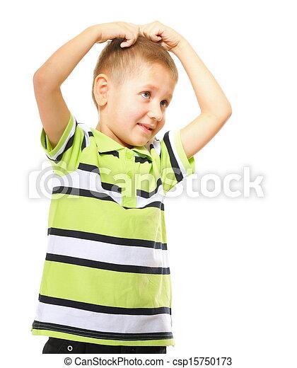 little thoughtful boy child portrait - csp15750173