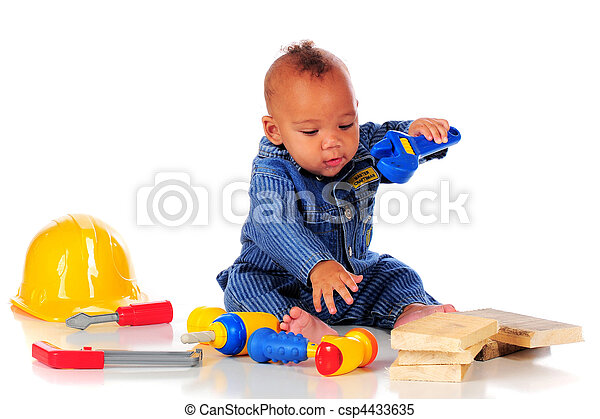920a54b5fa0 Little tool man. An adorable biracial baby in workman overalls ...