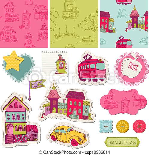 Little Town Scrap - for scrapbooking and design - in vector - csp10386814