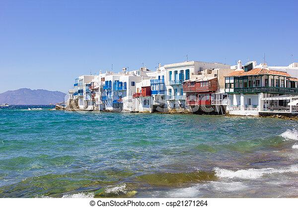 little venice in Mykonos, Greece - csp21271264