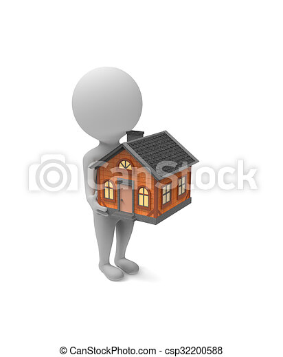Little White Man Holds A House In His Hands   Csp32200588