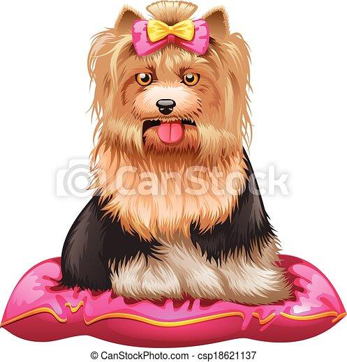Little Yorkshire Terrier On Pillow Vector Illustration Of Little