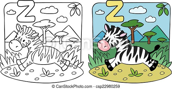 Little zebra coloring book. alphabet z. Coloring picture or coloring ...