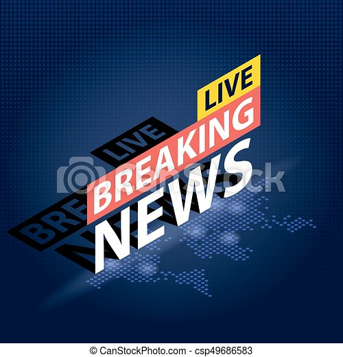 Live Breaking News Headline In Blue Dotted World Map Background Isometric Vector Illustration