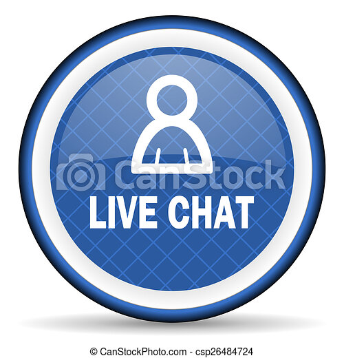 live chat blue icon - csp26484724