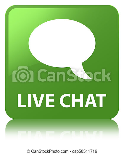Live chat soft green square button - csp50511716