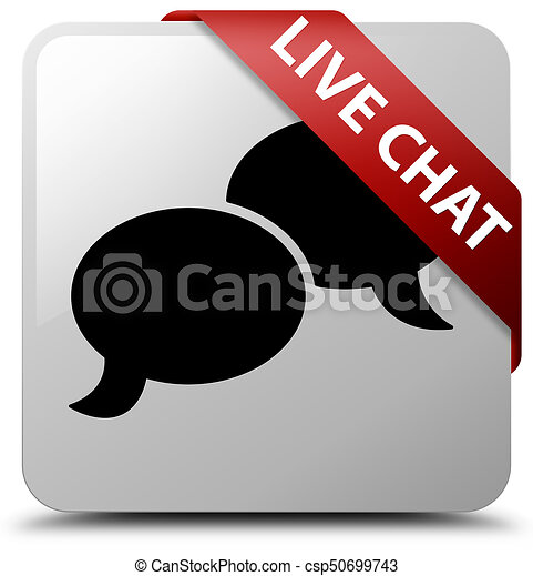 Live chat white square button red ribbon in corner - csp50699743