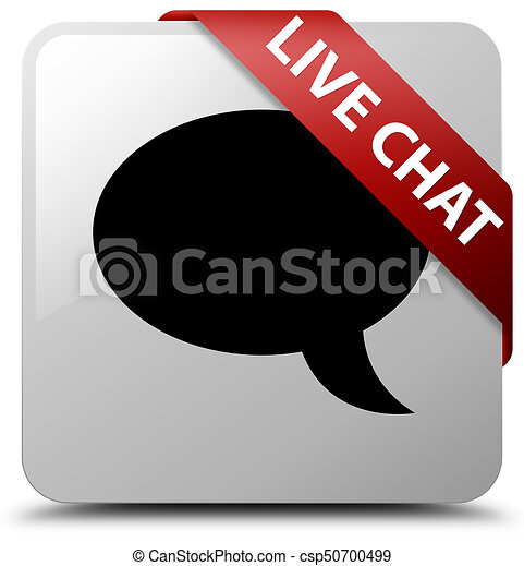 Live chat white square button red ribbon in corner - csp50700499