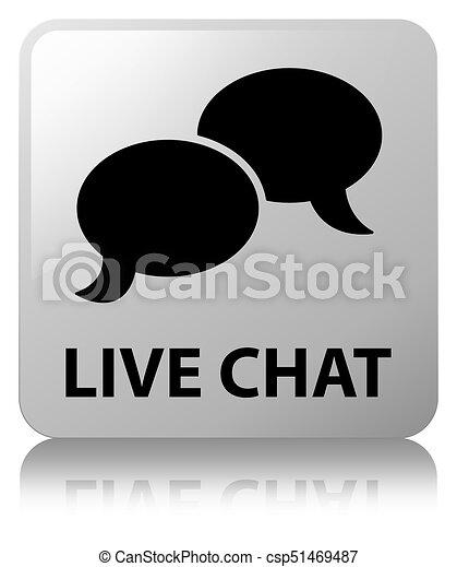 Live chat white square button - csp51469487
