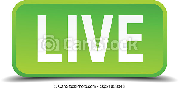 Live green 3d realistic square isolated button - csp21053848