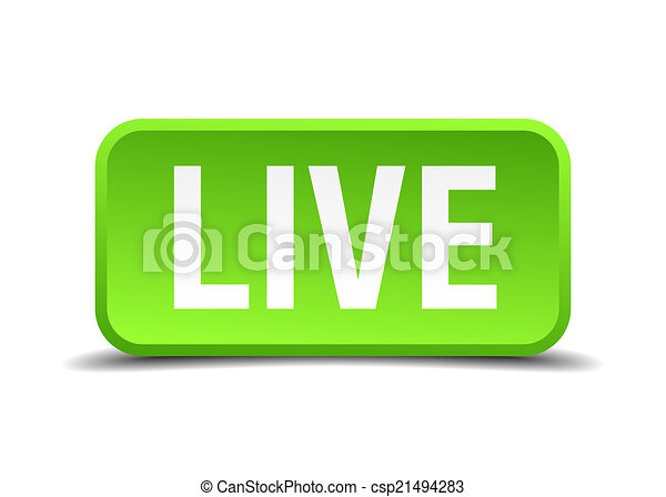 Live green 3d realistic square isolated button - csp21494283