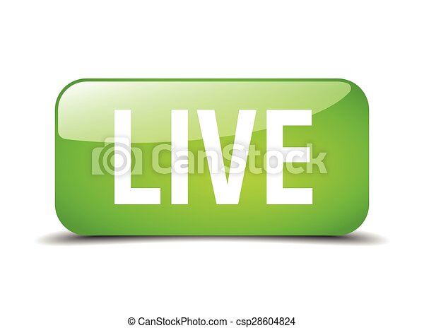 live green square 3d realistic isolated web button - csp28604824