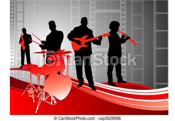 Live music band on abstract film background clip art vector live music band on abstract film background voltagebd Image collections