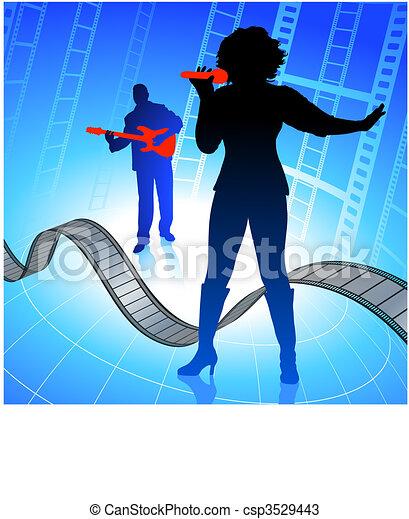 Live music band on internet film background - csp3529443