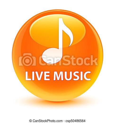 Live music glassy orange round button - csp50486564