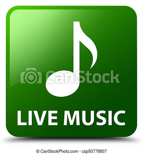 Live music green square button - csp50778807