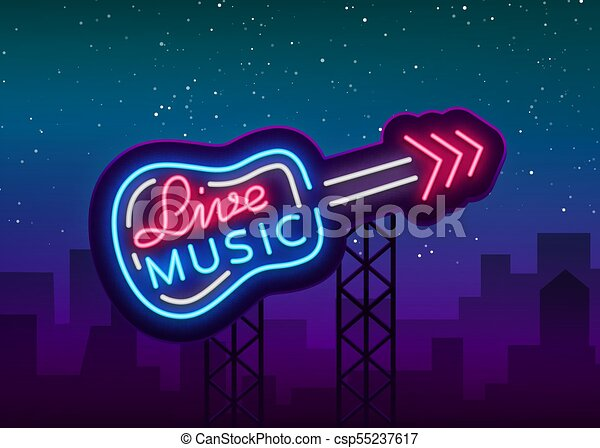 Live music neon sign vector, poster, emblem for live music festival, music bars, karaoke, night clubs. Template for flyers, banners, invitations, brochures and covers - csp55237617