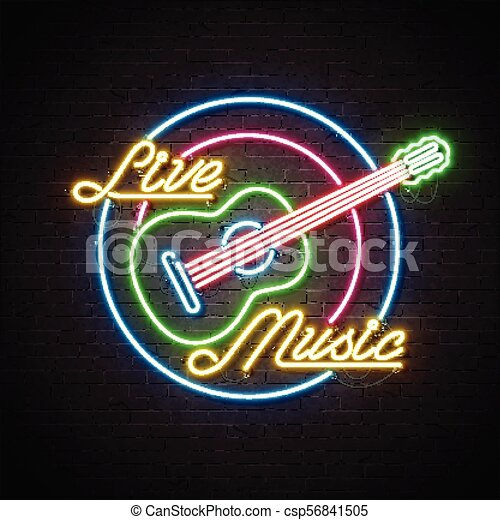 Live music neon sign with guitar and letter on brick wall background. Design template for decoration, cover, flyer or promotional party poster. - csp56841505