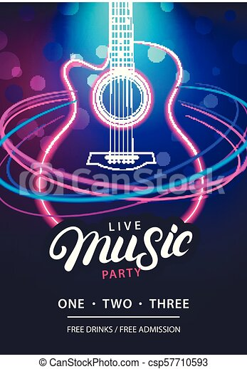 Live Music Party Design Template With Text Guitar Silhouette And Speed Movement Lights Use For Flyer Banner Poster