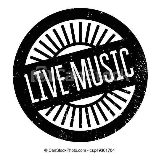 Live Music Rubber Stamp Grunge Design With Dust Scratches Effects