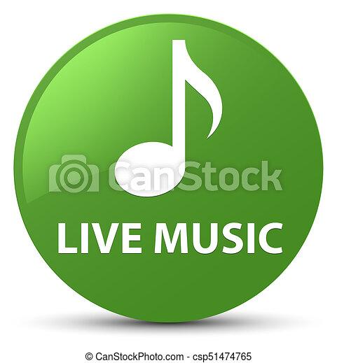 Live music soft green round button - csp51474765