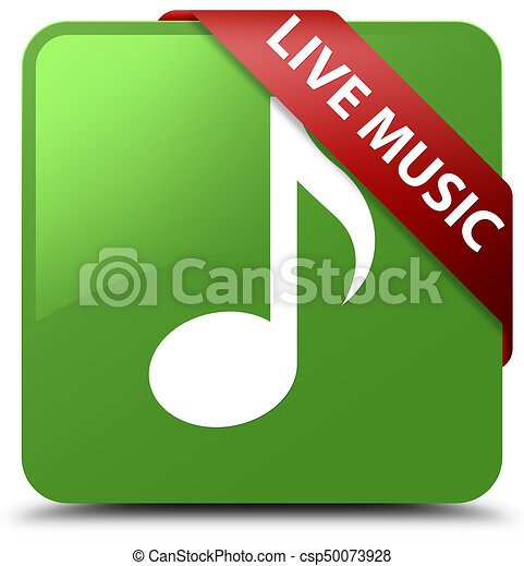 Live music soft green square button red ribbon in corner - csp50073928
