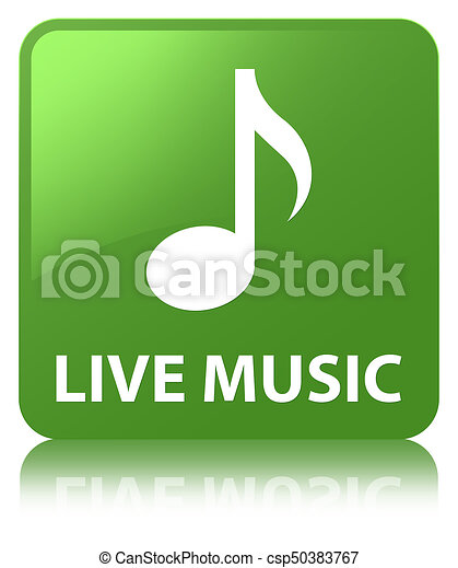 Live music soft green square button - csp50383767