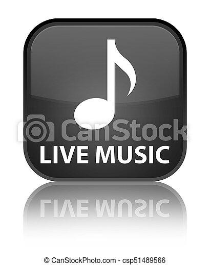 Live music special black square button - csp51489566
