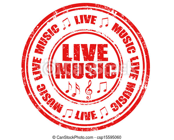 Live Music Stamp Grunge Rubber Stamp With Text Live Musicvector