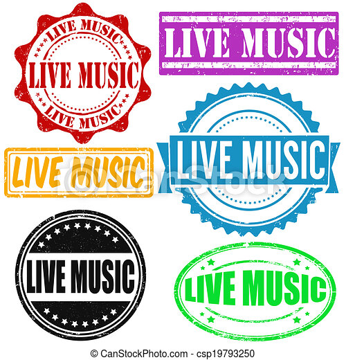 Live Music Stamp Set Of Live Music Grunge Rubber Stamps On White