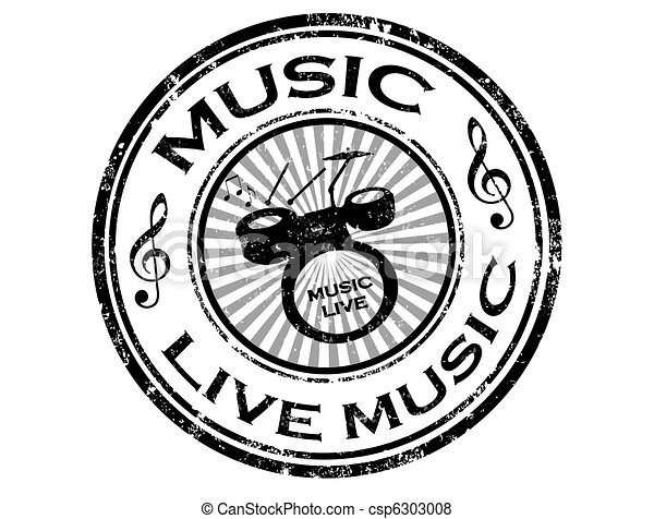 Live Music Stamp Black Grunge Rubber Stamp With Drums And Word Live