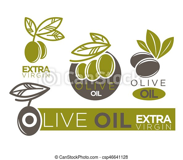 Live olive oil extra virgin flat logotypes on white  Vector