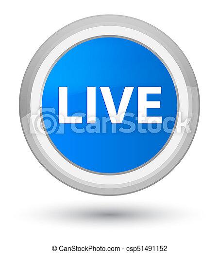 Live prime cyan blue round button - csp51491152