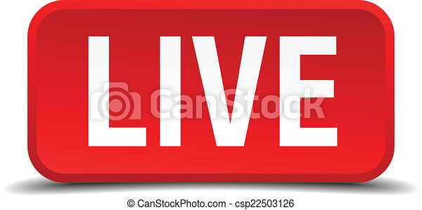 Live red 3d square button isolated on white - csp22503126